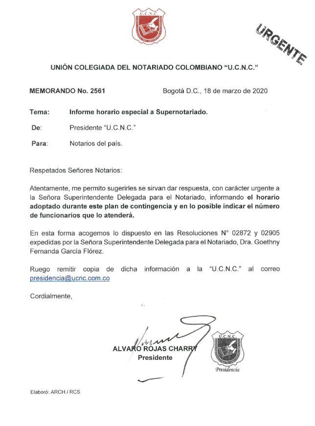 Informe horario especial a Supernotariado.