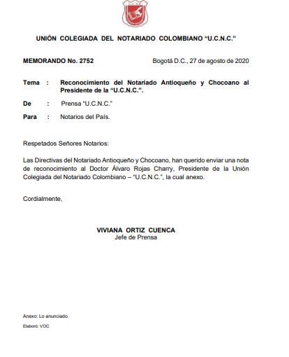"""Reconocimiento del Notariado Antioqueño y Chocoano al Presidente de la """"U.C.N.C.""""."""